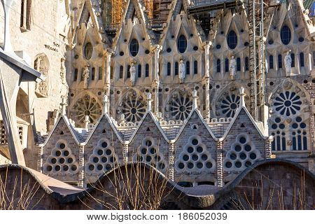 Barcelona, Spain - May 6, 2017: Sagrada Familia Church fragment, Gaudi, Barcelona, Spain.