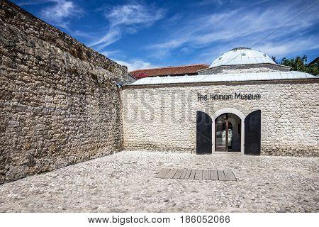 MOSTAR, BOSNIA AND HERZEGOVINA - AUG 18 2016: Hamam museum building
