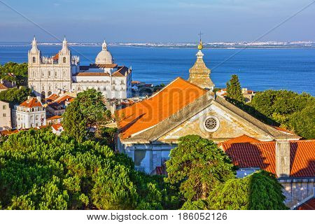 Lisboa cityscape panoramic view on Saint Vicente de Fora Monastery, Lisbon, Portugal