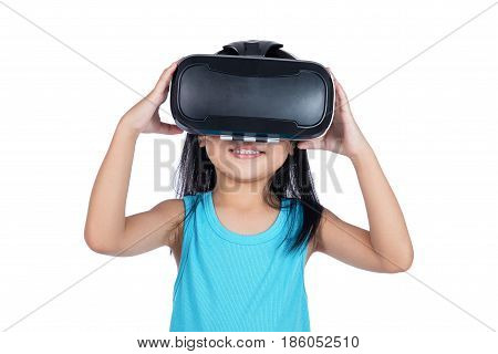 Asian Little Chinese Girl Experiencing Virtual Reality Via Vr Goggles