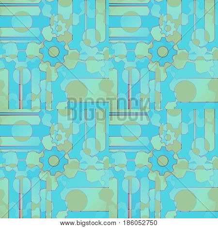 Abstract geometric background. Regular intricate pattern with gear wheals and circles turquoise, light blue, green and brown shades.