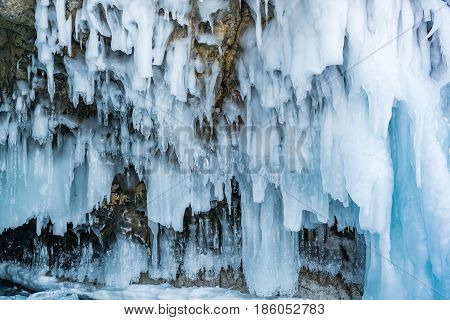 View of icicles in ice cave at Frozen Baikal Russia during winter