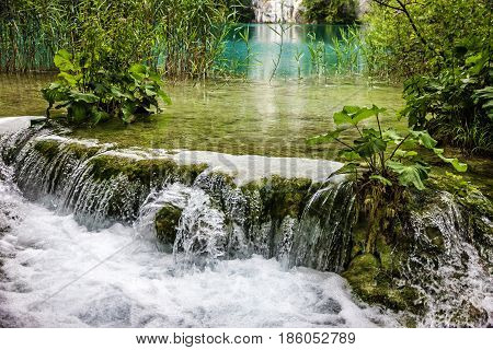 Croatia. Waterfall of Plitvice lake, natural landscape.