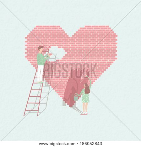 Concept love is work . Couple in love build relationships. Cute guy and girl on the background of brick heart. Vector cartoon illustration