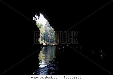 Tourist Cave Rafting In Thailand