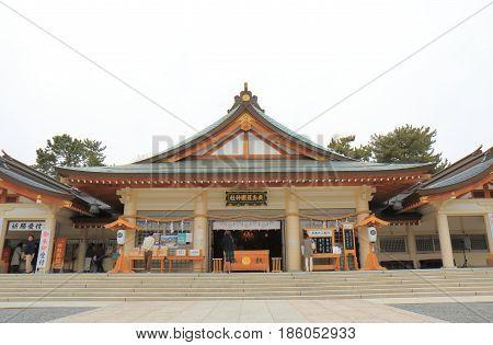 HIROSHIMA JAPAN - MARCH 20, 2017: Unidentified people visit Gokoku shrine. Hiroshima Gokoku shrine was established to mourn the Hiroshima Han victims of the Boshin War.