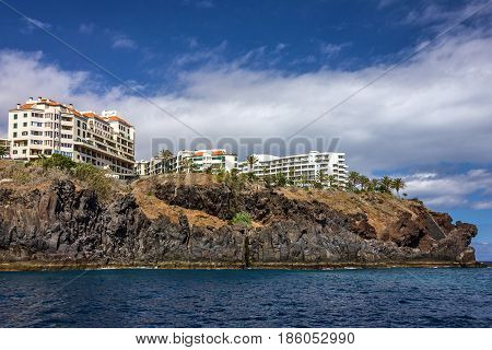 Madeira island, Portugal. Seafront hotels of Funchal.
