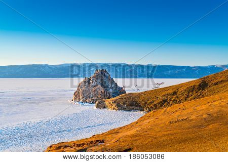 View of the Cape of Shamanka on Olkhon Island in Lake Baikal Russia