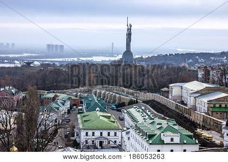 Kiev, Ukraine. Panoramic city view. Motherland monument memorial