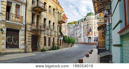 Kiev, Ukraine - September 11, 2016: Vozdvizhenka street with old houses is a major tourist attraction of the city often advertised by tour guides as the Montmartre of Kiev.