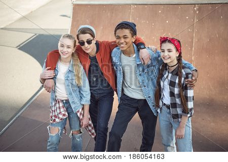 teenagers spending time at skateboard park teenagers having fun concept poster