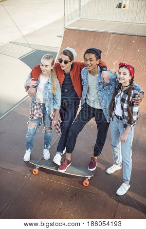 Teenagers Spending Time At Skateboard Park, Teenagers Having Fun Concept