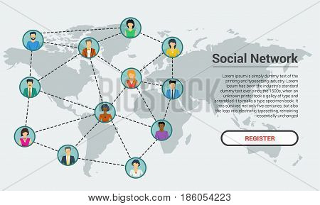 Vector rectangular concept social network communication around the globe. Men and woman users in different parts of the world in flat style. Web square banner template with caption and register button