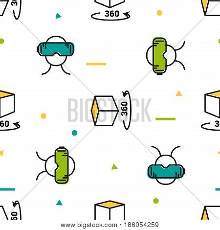Vector seamless pattern with colored VR elements on white background