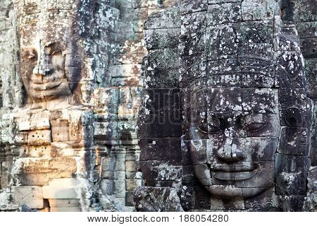 Giant Stone Face Of Prasat Bayon Temple, Cambodia