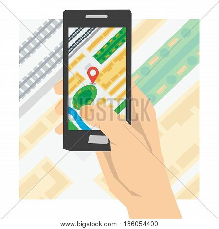 Vector concept using gps navigation. Hand holds smartphone with city map gps navigator on background with streets and houses in flat style