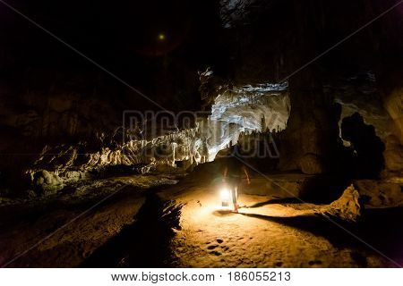Tourist Speleology Expedition In Thailand