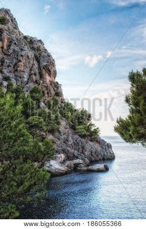 View to the sea at the coat torrent de Pareis Mallorca
