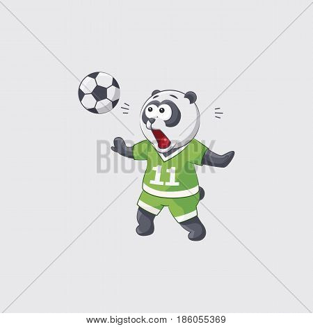 Stock vector illustration sticker emoji emoticon emotion isolated illustration character cute little kicker panda in awe catches flying ball football player goalkeeper forward defender gray background.