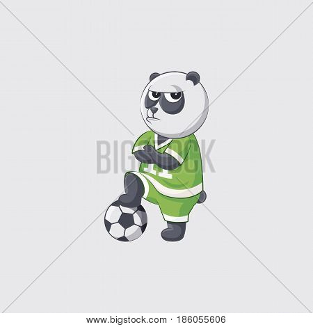 Stock vector illustration sticker emoji emoticon emotion isolated illustration unhappy character kicker panda angry crosses arms football player goalkeeper forward defender gray background mobile app