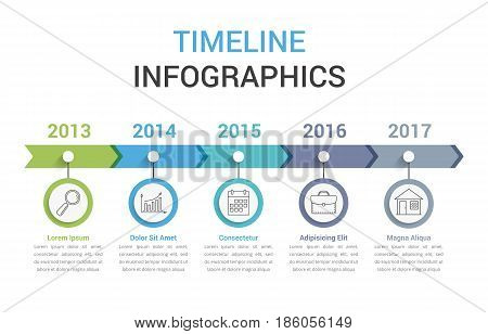 Timeline infographics template with colorful arrows, workflow or process