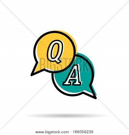 Vector line icon - Questions and answers. Two yellow and blue round bubbles with letters Q and A. Modern linear style isolated on white background