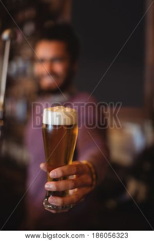 Male bar tender holding glass of beer at bar counter
