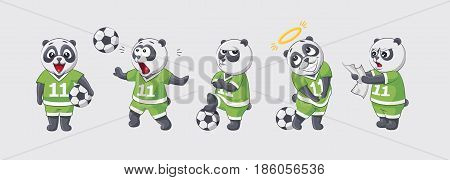Set kit collection sticker emoji emoticon emotion vector isolated illustration happy character sweet cute little kicker panda football player goalkeeper forward defender gray background for mobile app.