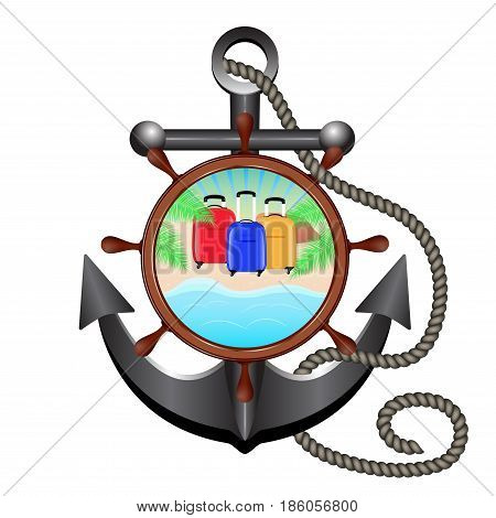 Anchor rope helm and porthole with sea landscape beach palm tree and three travel bag. Concept advertising sea travel. Vector illustration.