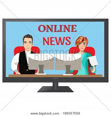 People leading news on TV. Vector illustration