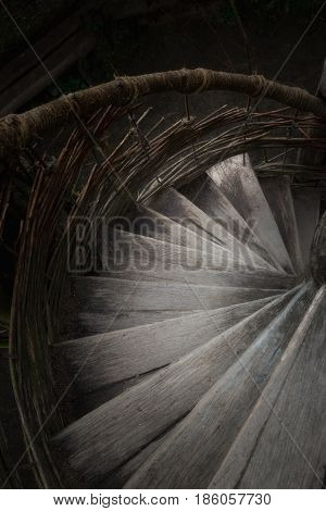 Steps of a spiral staircase which go downwards