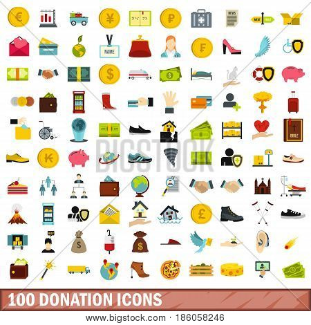 100 donation icons set in flat style for any design vector illustration