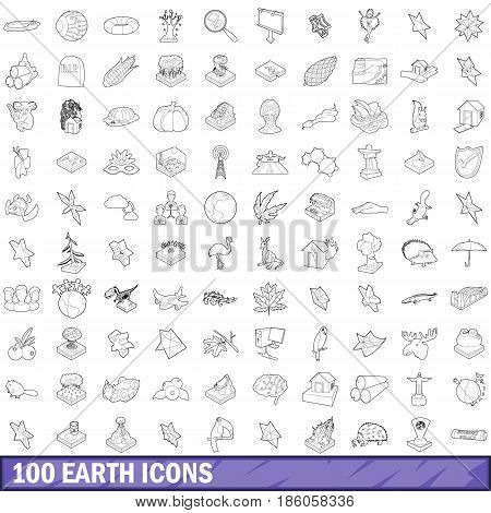 100 earth icons set in outline style for any design vector illustration