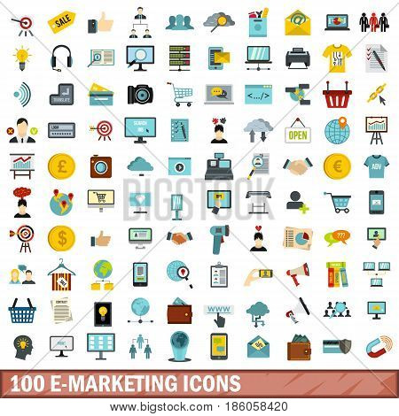 100 e-marketing icons set in flat style for any design vector illustration