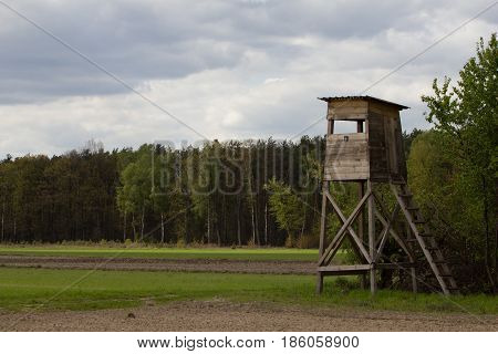 Hunter's watchtower at the wheat field. Early Spring. Cetral Poland Europe.