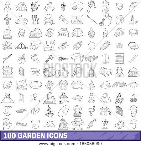 100 garden icons set in outline style for any design vector illustration