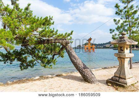 Floating Torii Gate off the coast of the island of Miyajima