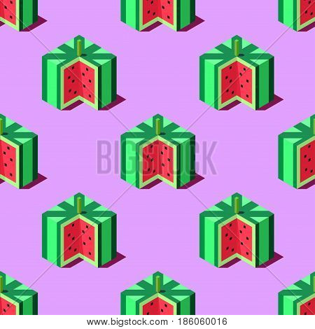 Seamless pattern of cubic watermelons on light blue background. Retro design concept, Clipping mask used.