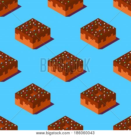 Seamless pattern of cubic chocolate donuts on light blue background. Retro design concept, Clipping mask used.