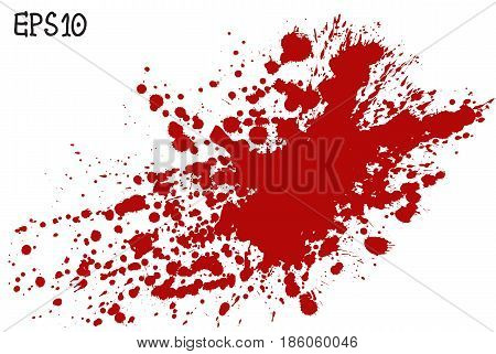 Blood splatter vector illustration. Red splash and drops on white background.