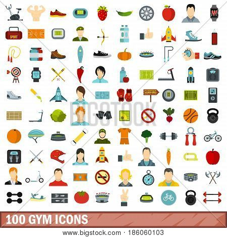 100 gym icons set in flat style for any design vector illustration
