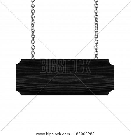 Wooden sign hanging on a chain isolate on white background