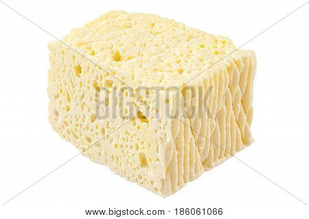 Salted Feta Cheese Isolated On White