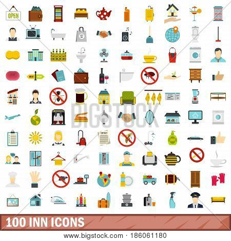 100 inn icons set in flat style for any design vector illustration
