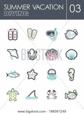 Diving outline vector icon set. Summer time. Vacation eps 10