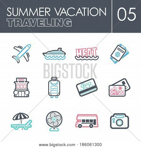 Traveling outline vector icon set. Summer time. Vacation eps 10