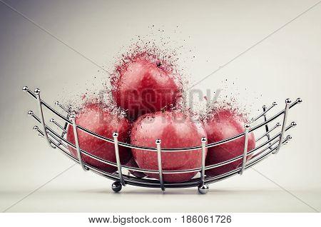 Modern Style Fruit Basket Made Of Steel Wire
