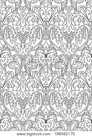 Black and white floral pattern. Seamless filigree ornament. Stylized template for wallpaper textile shawl carpet and any surface. Pattern with flowers and hummingbird.