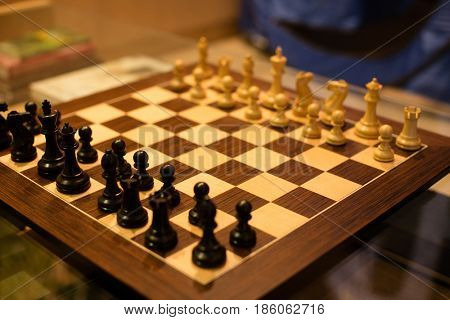 High angle view of chessboard on table