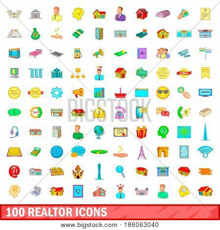 100 realtor icons set in cartoon style for any design vector illustration